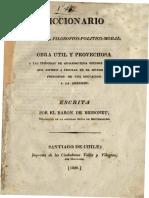 Diccionario Portatil Filosofico Politico Moral Obra Util y Provechosa