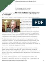 El candidato del Movimiento Federal puede ganar la elección (28/07/2002)