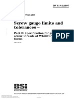 BS 919-2-2007 Screw Gauge Limits and Tolerances – Part 2 Specification for Gauges for Screw Threads of Whitworth and B.a. Forms