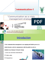 """Communication as a crisis management strategy"" by Saurabh Sharma"