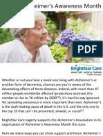 Support Alzheimer's Awareness Month