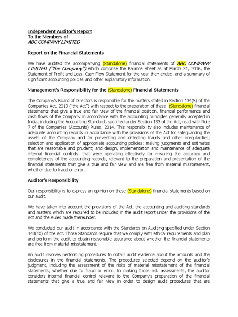 New Audit Report Format Including CARO 2016 (1) | Auditor\'s Report ...