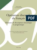 Anscombre Ed. Opérateurs Discursifs Du Français