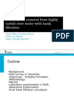 High turbidity and heavy metal removal during river bank filtration along the Cauca River