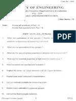 Metrology & Instrumentation Sem I (Supp)