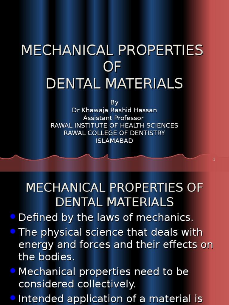 Mechanical Properties of dental materials | Strength Of