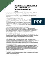 Constituciones Del Ecuador y Sus Principales Cararcteristicas