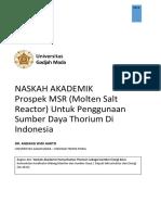 Naskah Akademik Prospek MSR untuk Penggunaan Thorium di Indonesia