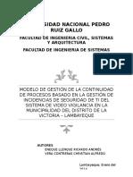 Anteproyecto de Tesis Gestion de La Continuidad Basado en Las Gestion de Incidencias de TI en El Sistema de Video Vigilacia de La Munic Del Distrito de La Victoria Final