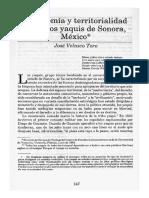 Autonomía y Territorialidad Entre Los Yaquis de Sonora - Velasco Toro