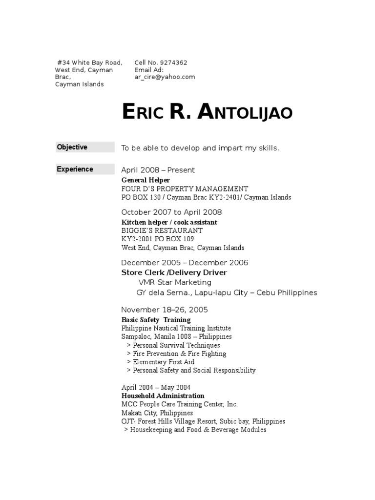 Caregiver Resume Cebu Philippines