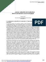 Dimension Culturelle de La Traduction Dans La Perspective Socio-écologique