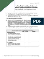 Uniform Retail Credit Classification and Account Management Policy Checklist Pub-ch-A-ccl-rccp-checklist