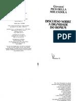 Mirandola, Giovanni P D - Discurso Sobre a Dignidade Do Homem