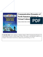 Communication Dynamics of North Sumatera Society in Virtual Culture Context