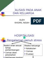 Hospitalisasi Pada Anak Dan Keluarga