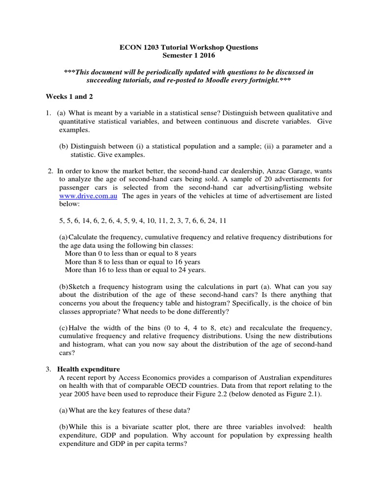 Tutorial Workshop Questions S1 2016  Statistical Hypothesis Testing   Sample Size Determination
