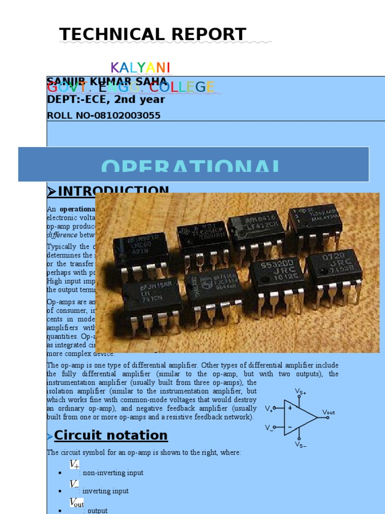 Op Amp Technical Report Operational Amplifier Single And Dual Power Supply Quad Opamp Circuit Filtercircuit
