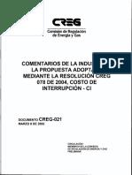 D-021- Comentarios Res. Creg 078 de 2004 Costos de Interrupción-ci