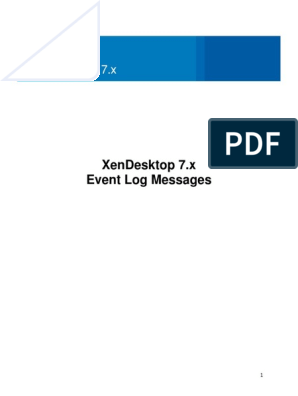 XenDesktop 7 x Event Log Messages | Windows Registry