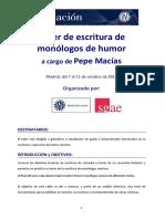 Taller Escritura Monologos Humor Pepe Macias