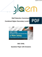 SSC CHSL 01 Nov 2015 Solved Question Paper - Morning Shift