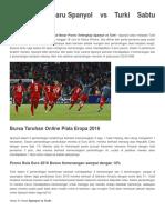 Prediksi Terbaru Spanyol vs Turki Sabtu 18 Juni 2016