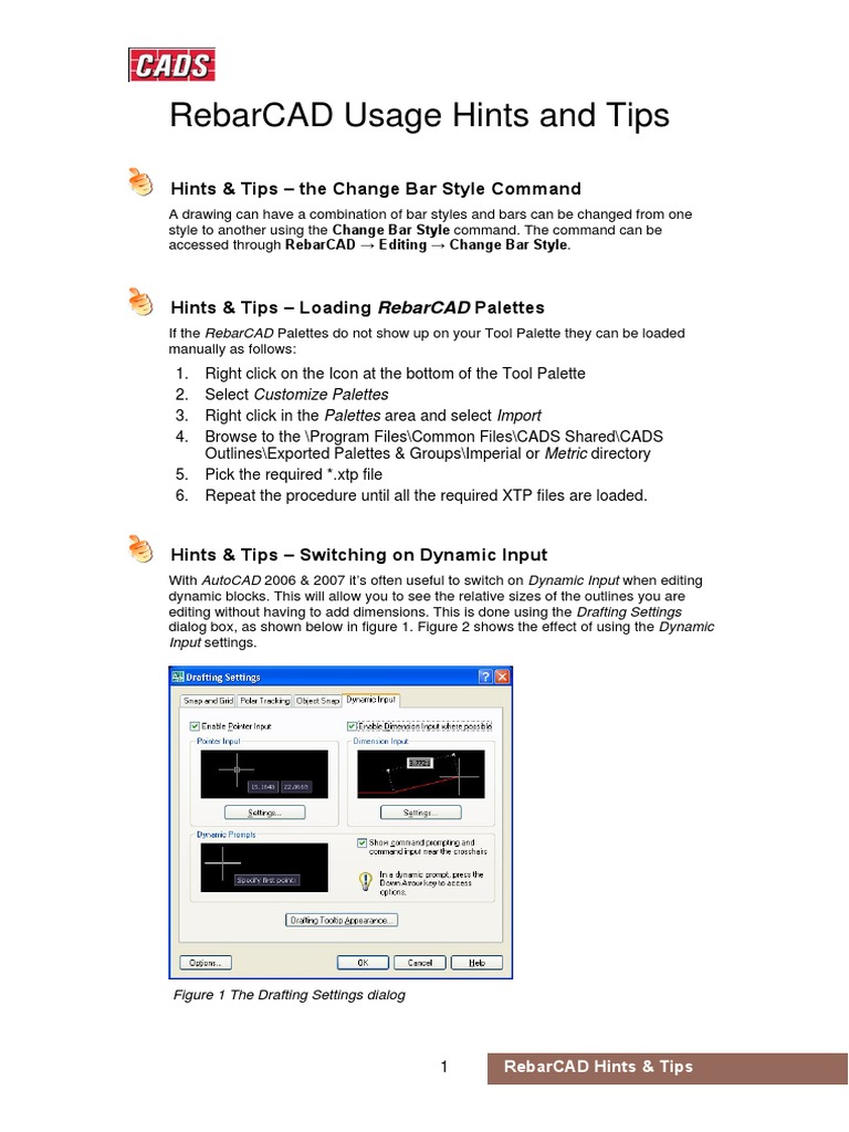 RebarCAD usage hints and tips pdf | Command Line Interface