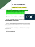 Turmas Especiais - Texto Explicativo