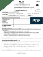 Certificat de Residence Fiscale Fr