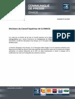 Cp Lnr - Decisions Du Conseil Superieur de La Dnacg