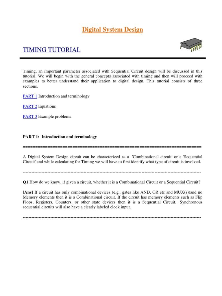 Timing Tutorial Electronic Circuits Digital Electronics How To Design Circuit