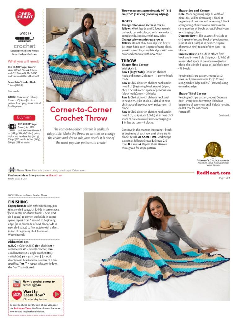 LW5019 corner to corner pdf | Crochet | Crafts