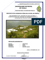 mejoramiento Del Sistema de Agua Potable y Construccion