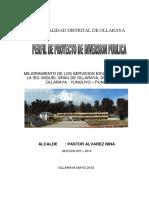 perfil de Proyecto Mejoramiento de Los Servicios Educativos de La Ies. Miguel Grau