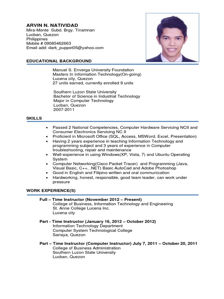 update resume 1  technology  software