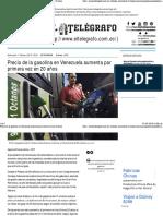 Precio de La Gasolina en Venezuela Aumenta Por Primera Vez en 20 Años
