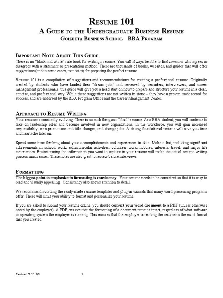 bba resume guide rsum sat