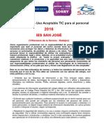 Reglamento de Uso Aceptable TICs del Profesor