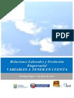Relaciones Laborales y Evolución Empresarial. VARIABLES A TENER EN CUENTA