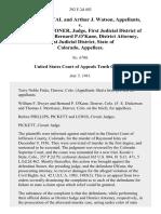 Albert J. Kostal and Arthur J. Watson v. Christian D. Stoner, Judge, First Judicial District of Colorado and Bernard p.o'kane, District Attorney, First Judicial District, State of Colorado, 292 F.2d 492, 1st Cir. (1961)