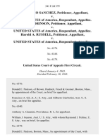 Ruben Dario Sanchez v. United States of America, Isaac Robinson v. United States of America, Harold A. Russell v. United States, 341 F.2d 379, 1st Cir. (1965)