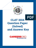 CLAT 2016 Question Paper & Answer Key