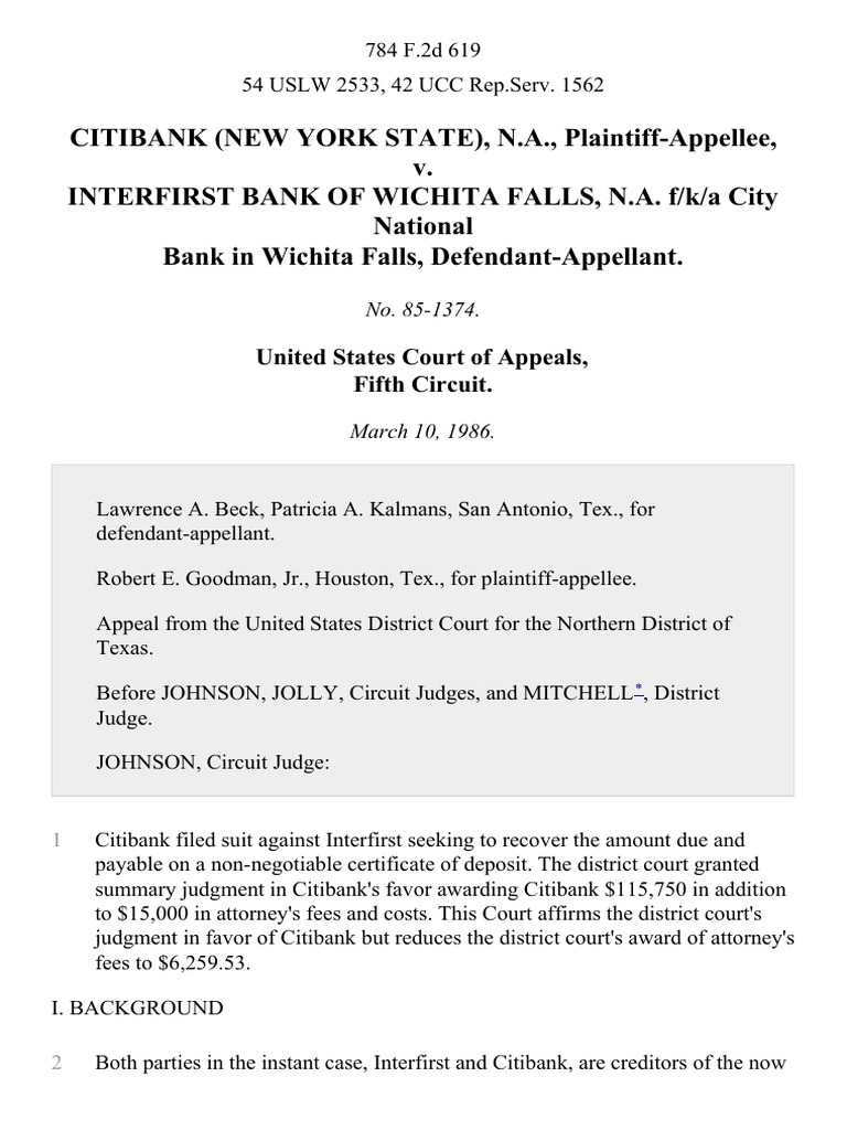 Citibank New York State Na V Interfirst Bank Of Wichita Falls