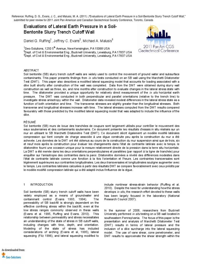3 Evaluations of Lateral Earth Pressure in Soil Bentonite