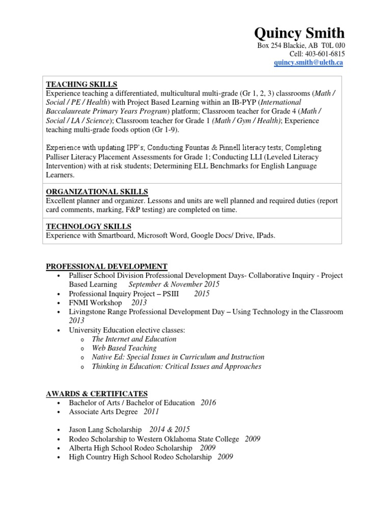 teaching resume quincy smith 16 | Bachelor Of Arts
