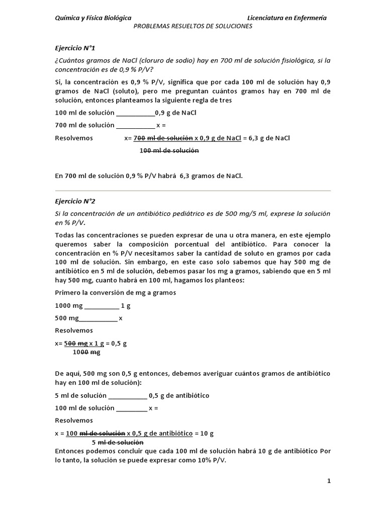 Ejercicio Resueltos Soluciones Mole Unidad Cloruro De Sodio