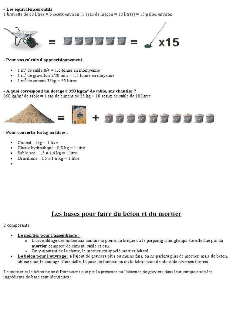 calcul dosage beton best comment calculer le volume de. Black Bedroom Furniture Sets. Home Design Ideas