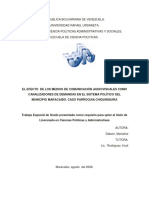 EL EFECTO  DE LOS MEDIOS DE COMUNICACIÓN AUDIOVISUALES COMO CANALIZADORES DE DEMANDAS EN EL SISTEMA POLÍTICO DEL MUNICIPIO MARACAIBO. CASO PARROQUIA CHIQUINQUIRA