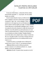 Tehnici Si Instalatii Pentru Reciclarea Maselor Plastice Si a Pet